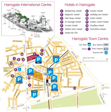 Map showing Car Parks and Hotels in Harrogate